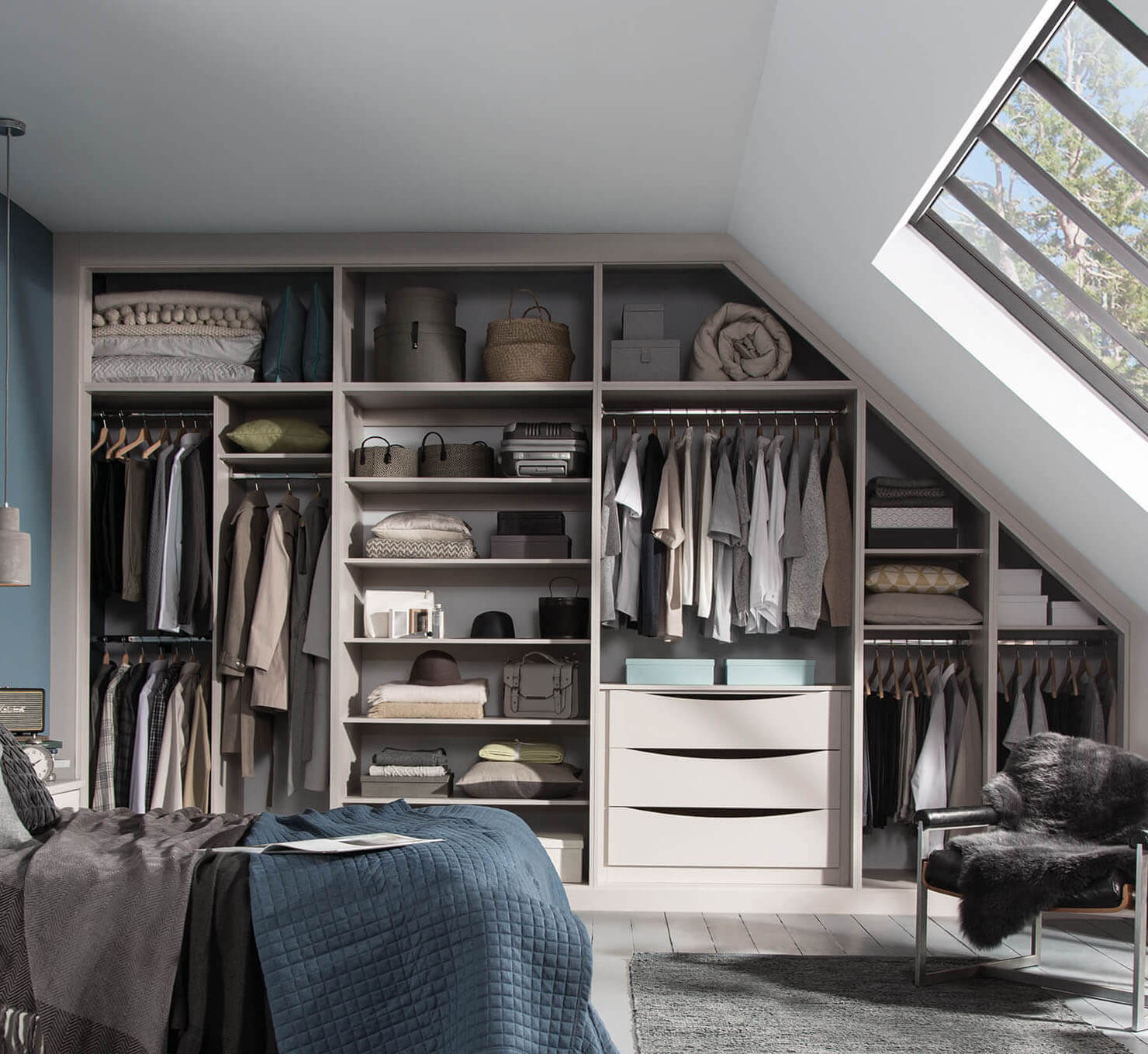 image map of a bedroom wardrobe with hotspots point ot various areas